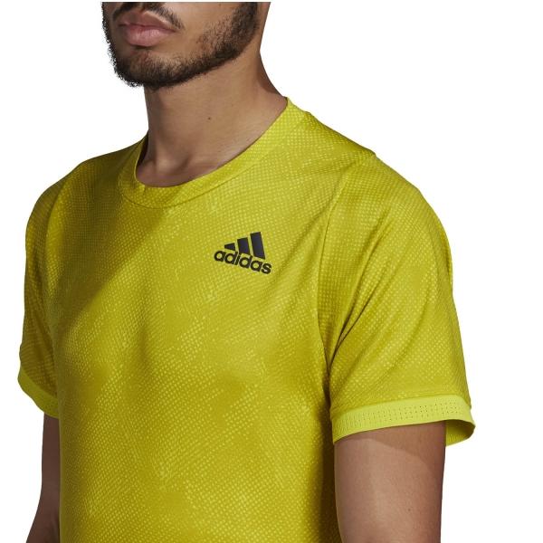 adidas Freelift Printed Primeblue T-Shirt - Acid Yellow/Wild Pine/White