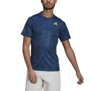 Men's Tennis Shirts adidas Freelift Print Primeblue TShirt  crew navy/acid yellow/crew blue GQ2220