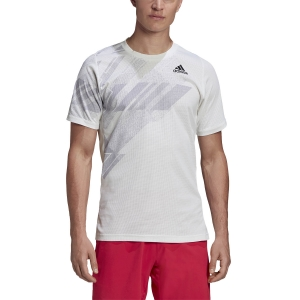 Camisetas de Tenis Hombre Adidas Freelift Printed Camiseta  White/Powder Pink GG3744