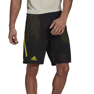 Men's Tennis Shorts adidas Next Level HEAT.RDY 2 in 1 9in Shorts  Black/Acid Yellow GP9482