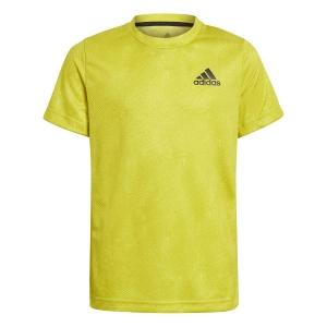 Tennis Polo and Shirts adidas OZ TShirt Boy  Acid Yellow/Wild Pine/White GQ2232