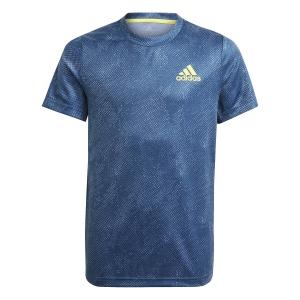 Tennis Polo and Shirts adidas OZ TShirt Boy  Crew Navy/Acid Yellow/Crew Blue GQ2231