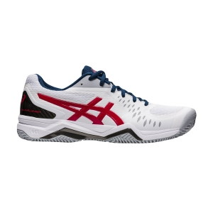 Calzado Tenis Hombre Asics Gel Challenger 12 Clay  White/Classic Red 1041A048117