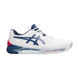 Men`s Tennis Shoes Asics Gel Resolution 8 Clay  White/Mako Blue 1041A076103