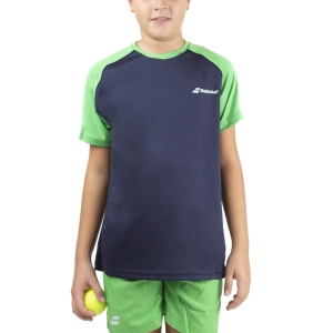 Polo y Camisetas de Tenis Babolat Play Club Crew Camiseta Nino  Peacot/Poison Green 3BTA0114050