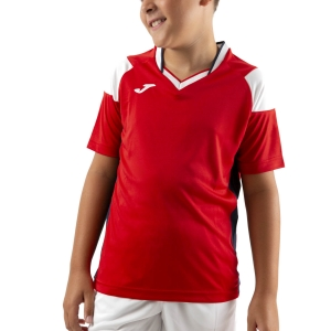 Tennis Polo and Shirts Joma Crew III TShirt Boys  Red/Dark Navy/White 101269.602
