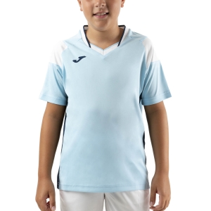 Tennis Polo and Shirts Joma Crew III TShirt Boys  Sky/Dark Navy/White 101269.352