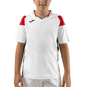 Tennis Polo and Shirts Joma Crew III TShirt Boys  White/Dark Navy/Red 101269.206