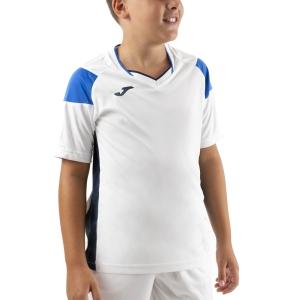 Tennis Polo and Shirts Joma Crew III TShirt Boys  White/Dark Navy/Royal 101269.207