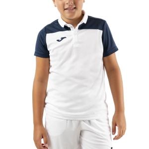 Polo y Camisetas de Tenis Joma Crew III Polo Nino  White/Dark Navy 101371.203