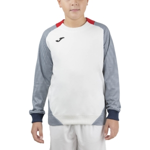 Boy Tracksuit and Hoodie Joma Essential II Sweatshirt Boys  White/Red/Dark Navy 101510.203