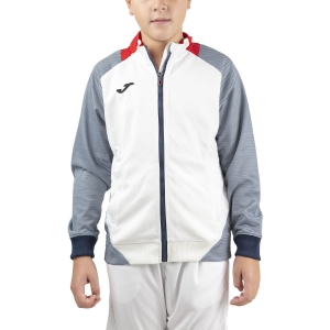 Boy Tracksuit and Hoodie Joma Essential II Full Zip Sweatshirt Boys  White/Red/Dark Navy 101535.203