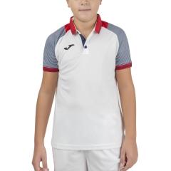 Joma Essential II Polo Boy - White/Red/Dark Navy