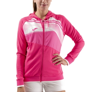 Women's Tennis Shirts and Hoodies Joma Supernova II Hoodie  Fluor Pink/White 901067.030