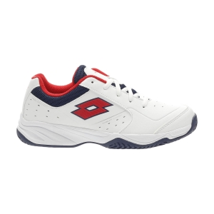 Scarpe Tennis Junior Lotto Space 600 II All Round Bambini  All White/Red Poppy/Navy Blue 2136396VX