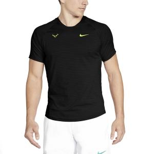 Men's Tennis Shirts Nike Aeroreact Rafa Slam TShirt  Black/Volt CI9152010