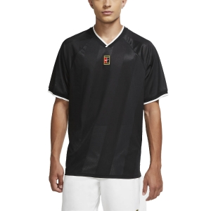Men's Tennis Shirts Nike Court Breathe Slam TShirt  Black/White CK9799010