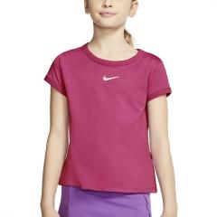 Nike Court Dri-FIT Camiseta Niña - Vivid Pink/White