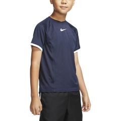 Nike Court Dri-FIT T-Shirt Boy - Obsidian/White