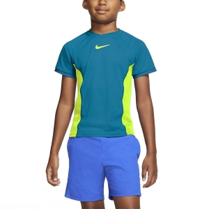 Tennis Polo and Shirts Nike Court DriFIT TShirt Boy  Neo Turquoise/Volt CD6131425