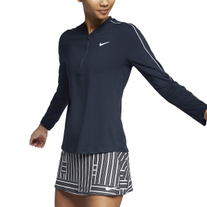 Women's Tennis Shirts and Hoodies Nike Court Dry 1/2 Zip Shirt  Obsidian/White 939322451