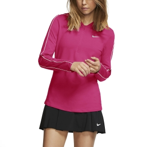 Women's Tennis Shirts and Hoodies Nike Court Dry 1/2 Zip Shirt  Vivid Pink/White 939322616
