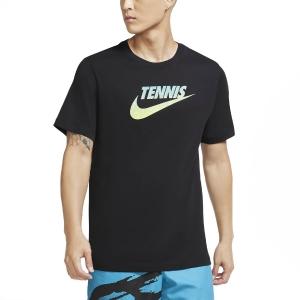 Men's Tennis Shirts Nike Court Graphic TShirt  Black/Volt/Neo Turquoise CW1532010