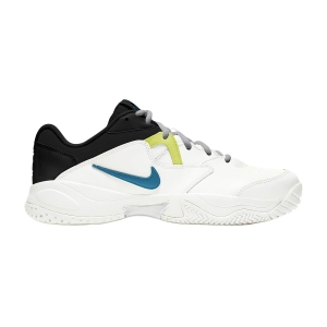 Men`s Tennis Shoes Nike Court Lite 2 HC  White/Neo Turquoise/Hot Lime/Light Smoke Grey AR8836104