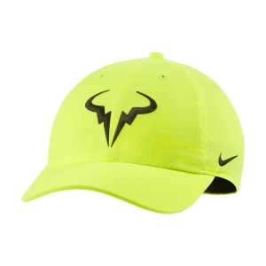 Tennis Hats and Visors Nike Court Rafa Aerobill H86 Cap  Volt/Black 850666702