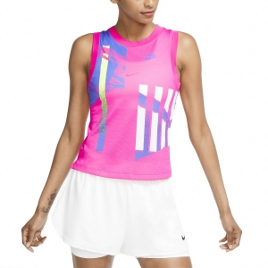 Top de Tenis Mujer Nike Court Slam Graphic Top  Pink Foil/Hot Lime/White/Sapphire CK8432604
