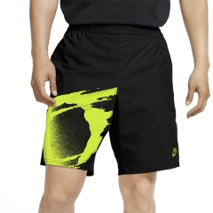 Nike Court Slam 8in Shorts - Black/Hot Lime