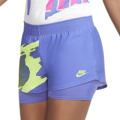 Nike Court Slam 2 in 1 2in Shorts - Sapphire/Hot Time