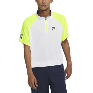 Men's Tennis Polo Nike Court Slam Polo  White/Hot Lime/Neo Teal/Black CT0820100