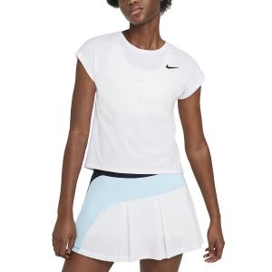Camisetas y Polos de Tenis Mujer Nike Court Victory Camiseta  White/Black CV4790100