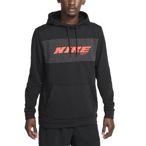 Men's Tennis Shirts and Hoodies Nike DriFIT Sport Clash Hoodie  Black/Bright Crimson CZ1484010