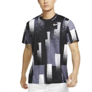 Men's Tennis Shirts Nike Dry Print TShirt  Black/White CK9820010