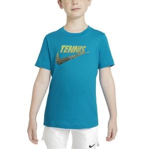 Tennis Polo and Shirts Nike Graphic TShirt Boy  Neo Turquoise/White/Black CW1538425