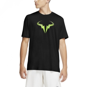 Camisetas de Tenis Hombre Nike Rafa Bull Camiseta  Black/Volt CW1534010