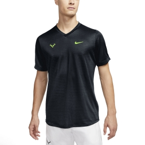 Men's Tennis Shirts Nike Rafa Challenger TShirt  Black/Volt CI9148010
