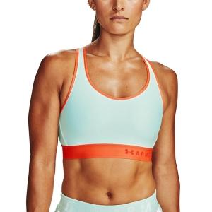 Tennis Women's Underwear Under Armour Mid Sports Bra  Seaglass Blue/Beta/Versa Red 13071960403