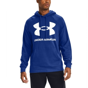 Men's Tennis Shirts and Hoodies Under Armour Rival Big Logo Hoodie  Jupiter Blue/Onyx White 13570930584