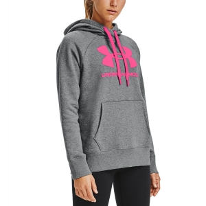 Women's Tennis Shirts and Hoodies Under Armour Rival Logo Hoodie  Pitch Gray Medium Heather/Cerise 13563180012