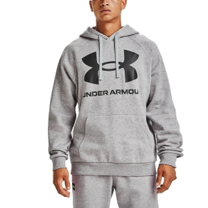 Men's Tennis Shirts and Hoodies Under Armour Rival Big Logo Hoodie  Mod Gray Light Heather/Black 13570930011