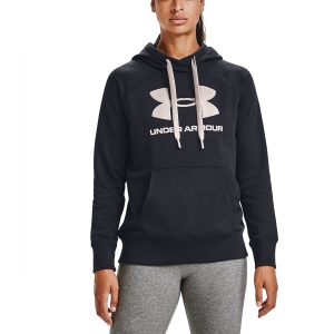 Women's Tennis Shirts and Hoodies Under Armour Rival Logo Hoodie  Black/Desert Rose 13563180003