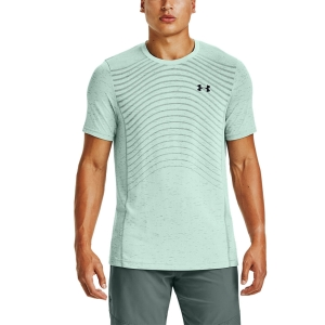 Camisetas de Tenis Hombre Under Armour Seamless Wave Camiseta  Seaglass Blue/Black 13514500403