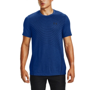 Camisetas de Tenis Hombre Under Armour Seamless Wave Camiseta  Royal/Black 13514500400