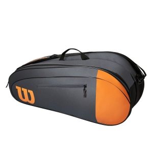 Tennis Bag Wilson Burn Team x 6 Bag  Grey/Orange WR8009801