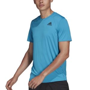 Men's Tennis Shirts adidas Club 3 Stripes TShirt  Sonic Aqua/Black H45416