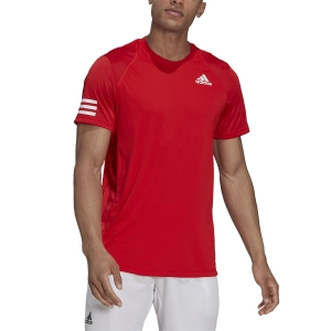Men's Tennis Shirts adidas Club 3 Stripes TShirt  Vivid Red/White H33751