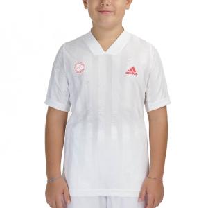 Tennis Polo and Shirts Adidas Freelift TShirt Boys  White/Scarlet GE4820